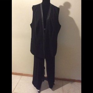 Black Calvin Klein Vest and pants leather trim 16W